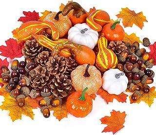 Lvydec 220pcs Artificial Harvest Pumpkins Decoration Set, Assorted Maple Leaves Mini Pumpkins Gourds Pine Cones and Acorns...