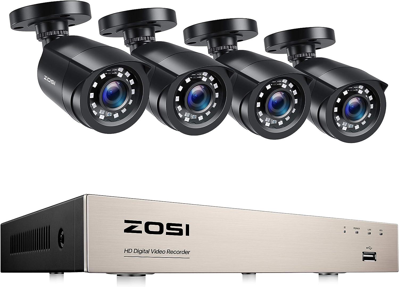 ZOSI 1080P Kit de Cámara Vigilancia Seguridad 8CH H.265+ Grabador DVR con (4) 2MP Cámara Exterior, Visión Nocturna, Alarma de Movimiento, sin Disco Duro