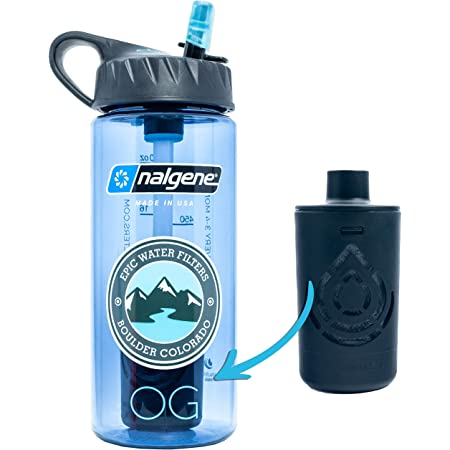 Epic Nalgene OG | Water Bottle with Filter | USA Made Bottle and Filter | Dishwasher Safe | Filtered Water Bottle | Travel Water Bottle | BPA Free Water Bottle | Removes 99.99% Tap Water Impurities (20 Ounce, Slate Blue)