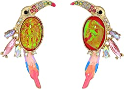 Pink and Gold Toucan Button Earrings