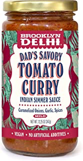 Brooklyn Delhi Dad's Savory Tomato Curry - Indian Simmer Sauce, Tangy Tomatoes, Caramelized Onions & Ginger, 12 Ounces, Mild, Vegan, Gluten-Free, No Artificial Additives