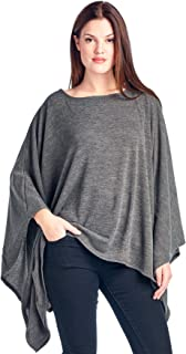 Solid Knit Sweater Caftan Poncho Tunic