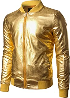 JOGAL Mens Metallic Nightclub Styles Zip Up Varsity Baseball Bomber Jacket Costume