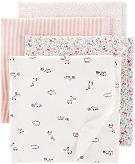 Carter's 4-Pack Receiving Blankets Pink and White