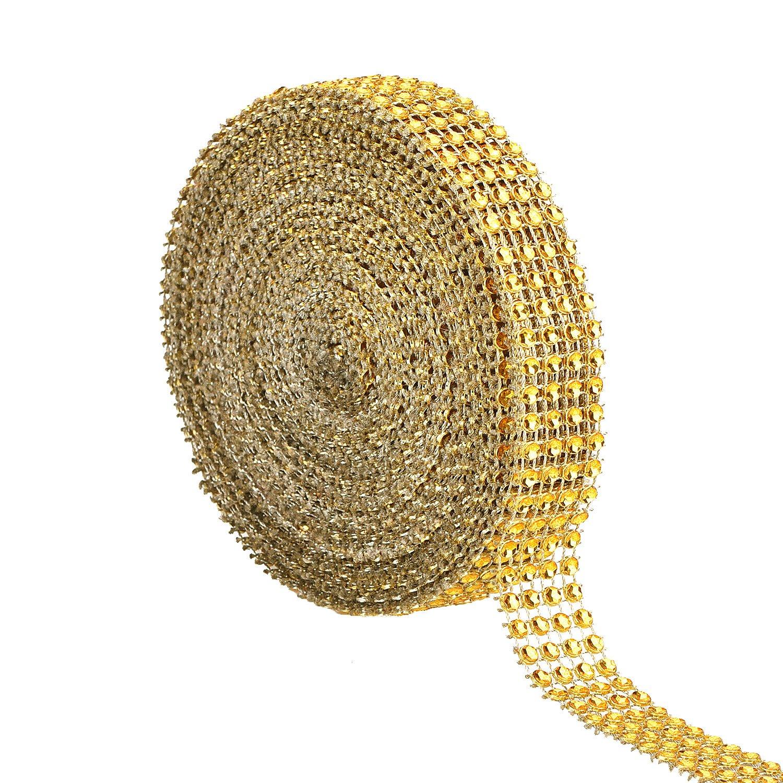 Metable 6 Row 10 Yard Acrylic Rhinestone Diamond Ribbons Sparkling Mesh Ribbon for Wedding Cakes DIY Arts Crafts Decorations Gold
