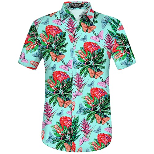 8345236d HWHColor Men's Hawaiian Aloha Beach Short Sleeve Shirt Casual Relaxed-Fit  Button Down Shirts