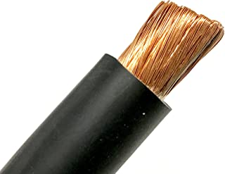 2 AWG HEAVY DUTY Extra Flexible Welding Lead Car Audio Battery Cable 600 VOLT - Made in the USA! (50 FT, Black)