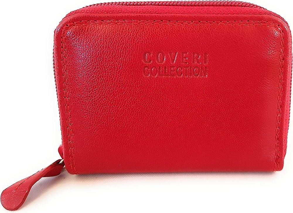 coveri,  portafoglio portacarte di credito con chiusura a zip , realizzato in ecopelle