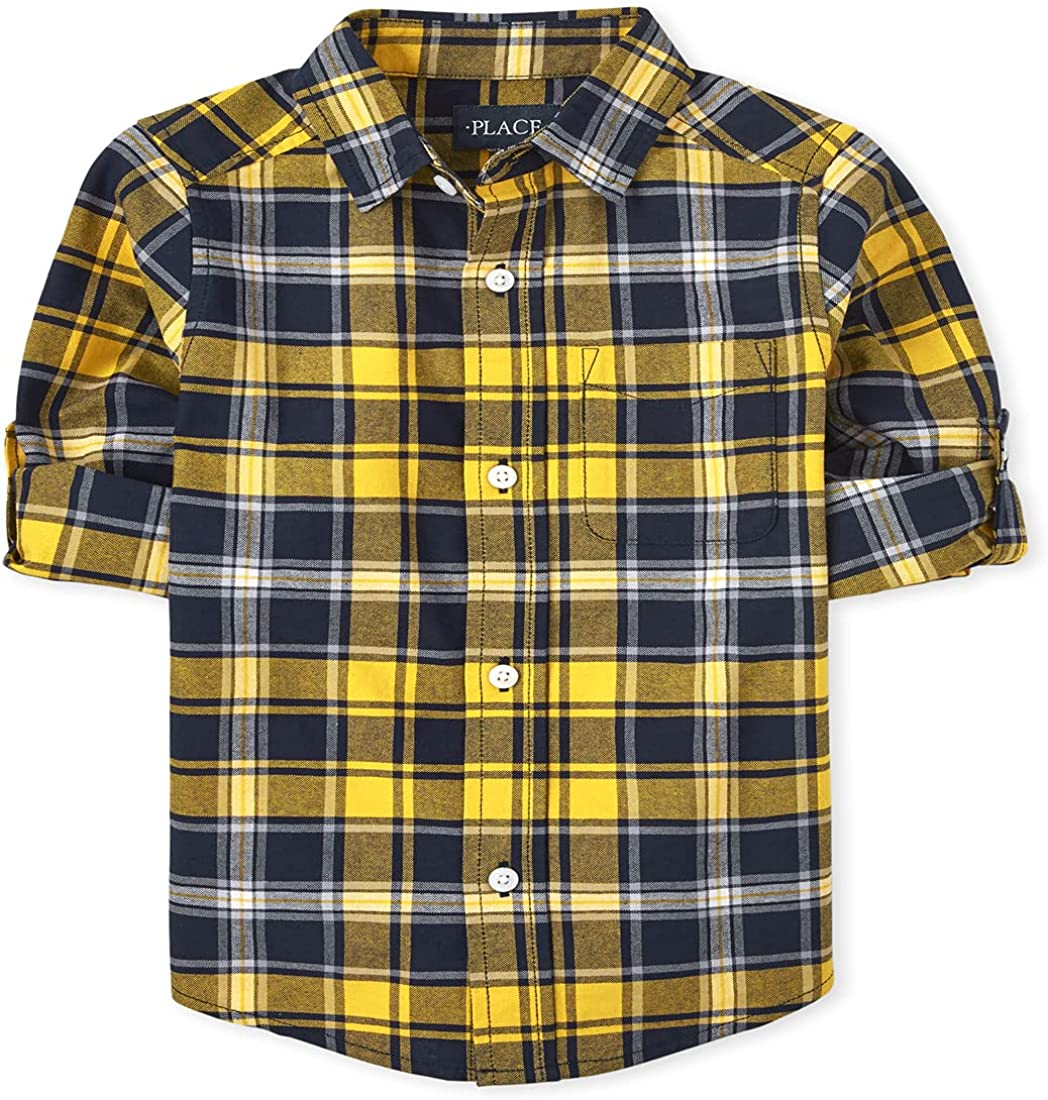 The Children's Place Boys' Long Roll Up Sleeves Plaid Oxford Button Down Shirt