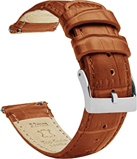 Barton Alligator Grain - Quick Release Leather Watch Bands - Choose Color, Length & Width - 16mm, 18mm, 19mm, 20mm, 21mm, ...