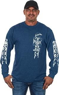 Mens Graphic Print Iron Cross & Skull Design Long Sleeve Biker T-Shirt in 5 Colors