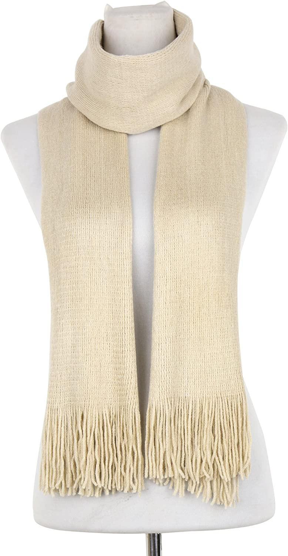 Dasein Women's Super Soft Cozy Cashmere Winter Warm Knitted Scarf Wrap w Fringes
