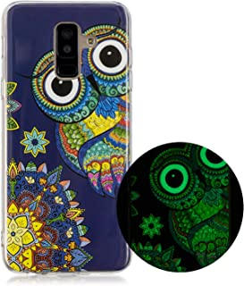 Miagon Luminous Effect Back Case Cover for iPhone XS Max,Noctilucent Glow in the Dark Green Soft Slim TPU Gel Flexible Bumper,Deer Flower
