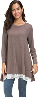 Sinono Women's Casual Lace Long Sleeve A-Line Swing Scoop Neck Tunic Top Blouse