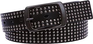 "1 1/2"" Snap on Tiny Circle Studded Genuine Leather Belt"