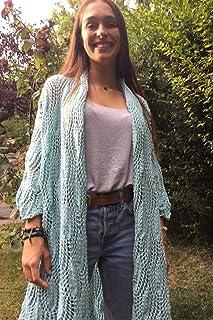 Chaqueta, cardigan o túnica larga de verano de color azul, talla L, para mujer o chica