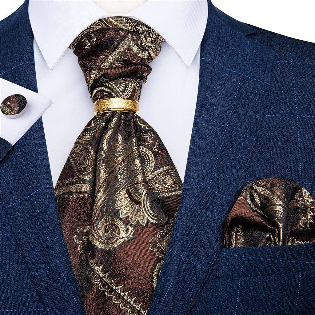 YTREI Men's Vintage Silk Tie Wedding Party Cravat Classic Bussines Gentleman Self Scarf Ring Set (Color : A, Size : One Size)