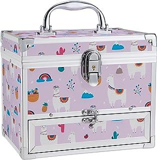 صندوق مجوهرات هودودو للفتيات مع درج ومرآة، حقيبة تخزين قابلة للقفل بنمط الألبكة بألوان قوس قزح للأطفال أو البنات الصغار مج...