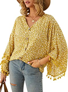 MsLure Women's Boho Floral V Neck Buttons Batwing Sleeve Loose Blouse Tops with Tassels