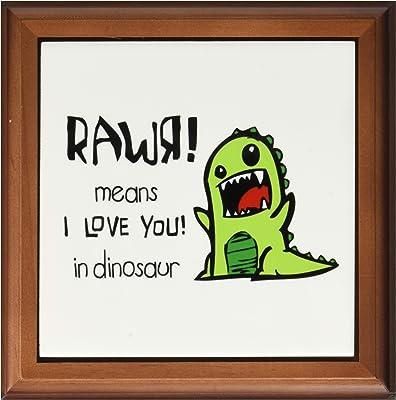 3dRose ft_157446_1 Rawr Means I Love You in Dinosaur. Cute Dinosaur-Framed Tile Artwork, 8 by 8-Inch
