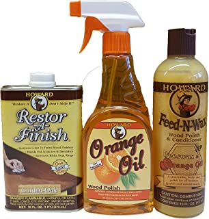 Howard Complete Wood Restoration Kit, Clean, Protect, and Restore Wood Finishes, Wood Antiques, Kitchen Cabinets, Wood Furniture (Neutral)