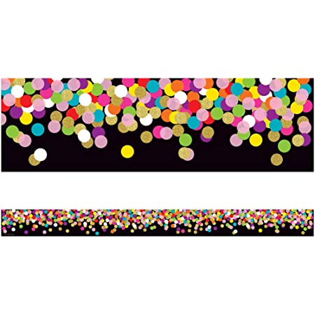 Black Confetti Straight Border Trim Classroom Display