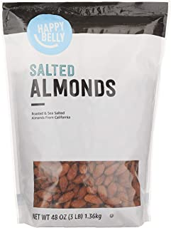 Amazon Brand - Happy Belly Roasted & Salted California Almonds, 48 Ounce