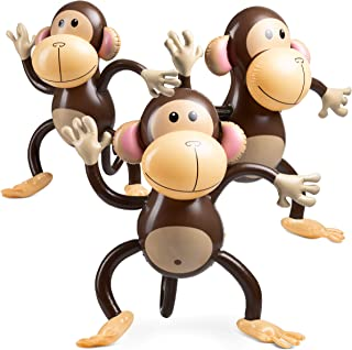 Large Inflatable Monkey (Pack Of 3) 27 Inch Monkeys, For Baby Shower, Safari, Jungle Themed Party's, Birthday Favors And D...