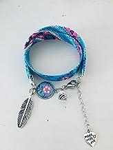 Bracciale in tessuto blu bohemien Liberty, bracciale portafortuna, gioiello, bracciale fiore, gioielli da donna, bracciale...