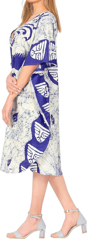 LA LEELA Women's One Size Caftan Kimono Dresses Loungewear Cover Ups Hand Batik
