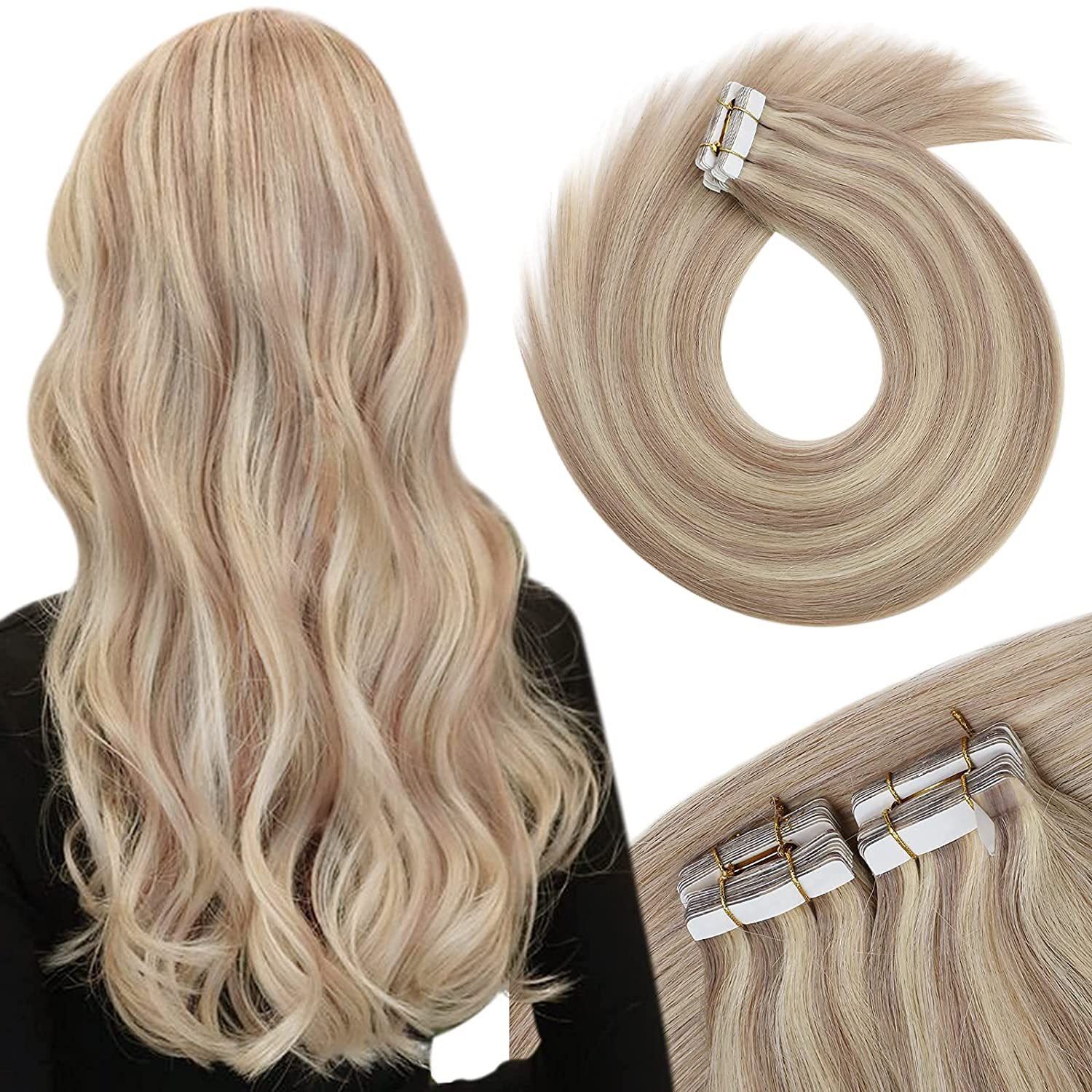 Human Hair Easy-to-use Extensions Cheap sale Tape in Blonde Bleach 22inch Blond