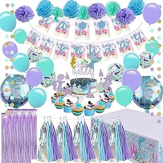 وسایل مهمانی پری دریایی - تزیینات جشن تولد دختران ، حاوی یک بنر پری دریایی ، 9 پوم پوم بافت ، 2 پرده فویلی ، 15 منگوله بافتی ، 2 گل حلقه ای ، یک پارچه میز پری دریایی ، 12 پارچه کیک کیک و بادکنک ، مناسب برای جشن تولد دختران