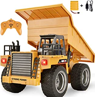 Rc Dump Truck Toy, Remote Control Dump Trucks 4WD Rc Construction Dump Truck Toys Rechargeable 2.4ghz Rc Construction Vehicles for Kids Boys Birthday Xmas Gift