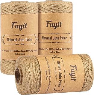 Fuyit Ficelle en Jute Corde 900 Pieds 3 Bobines Corde en Jute Naturel Jute Corde de pour l'emballage Cadeau, décoration de...