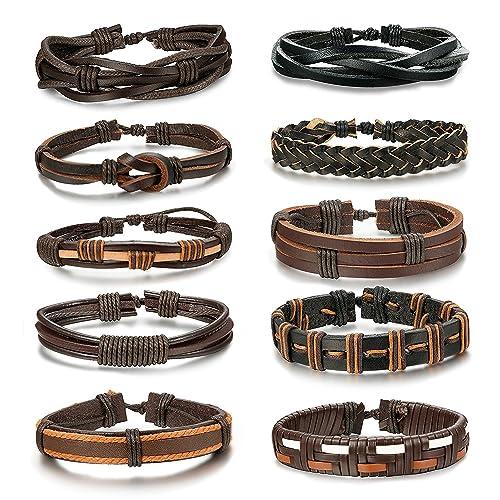 Besteel 10-16PCS Braided Leather Bracelets for Men Women Punk Rope Bracelet Cuff Vintage Bracelets Wrap Set, Adjustable