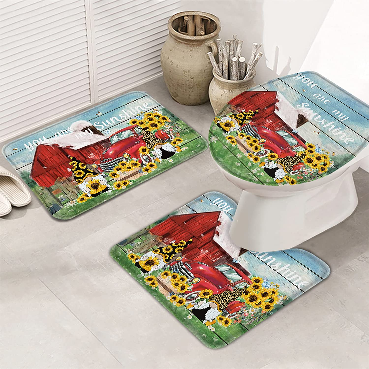 Queenker 3 Pieces Bath Rug Max 51% OFF Set T Gnome Toilet Ranking TOP2 Cover Seat Leopard