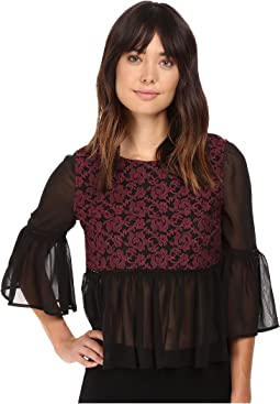 Arwen Embroidiered Mesh Top w/ Chiffon