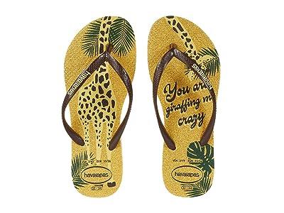Havaianas Kids Slim Glitter Flip-Flop (Little Kid/Big Kid) (Lemon Yellow) Girls Shoes