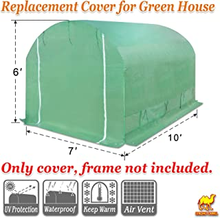 Strong Camel Replacement Cover for 10' x 7' x 6' Larger Walk in Outdoor Plant Gardening Greenhouse Green Color (Frame Does NOT Included)