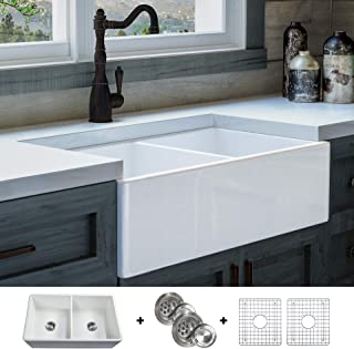 Luxury 33 inch Solid (NOT HOLLOW), Ultra-Fine Fireclay Modern Farmhouse Kitchen Sink in White, Double Bowl, Flat Front, includes Grids and Drains, FSW1003 by Fossil Blu