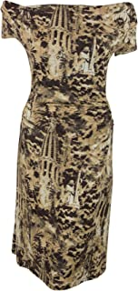 Isabel de Pedro Womens Brown Flared Drape Neck Fitted SS Dress 12