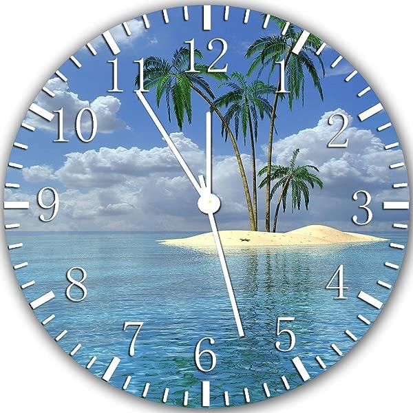无边棕榈树海滩岛无框挂钟 X27 装饰或礼品精美