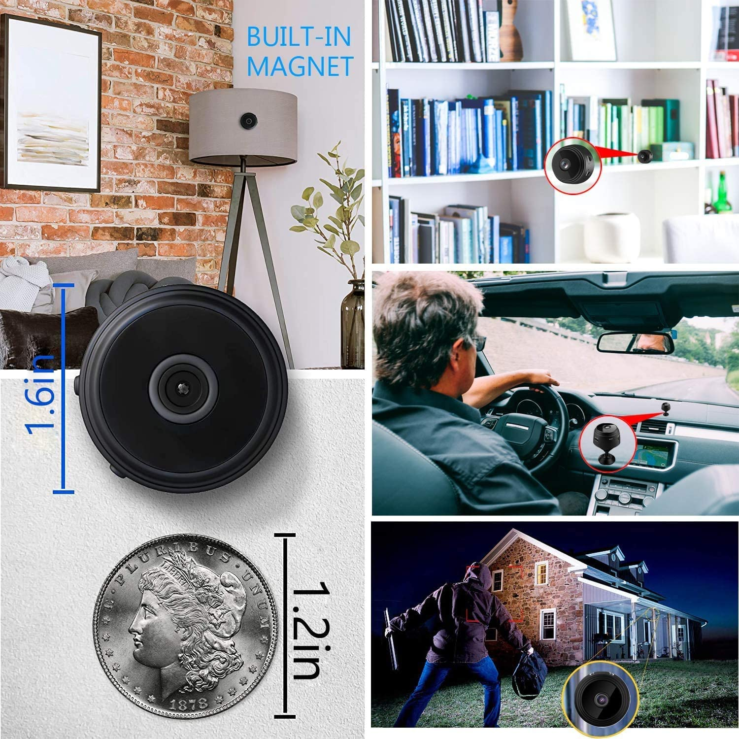 Mini S py Hid den Camera, WiFi Wireless 1080P Hid den Camera with Audio and Video Live Feed, Portable Small HD Nanny Cam with Night Vision and Motion Detection for Car Home Office