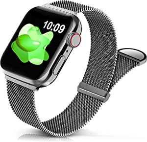 Sunnywoo Metal Stainless Steel Band Compatible with Apple Watch Bands 38mm 40mm 42mm 44mm,Graphite Loop Adjustable Strap Magnetic Replacement Wristband for iWatch Series 7 6 5 4 3 2 1 SE for Women Men