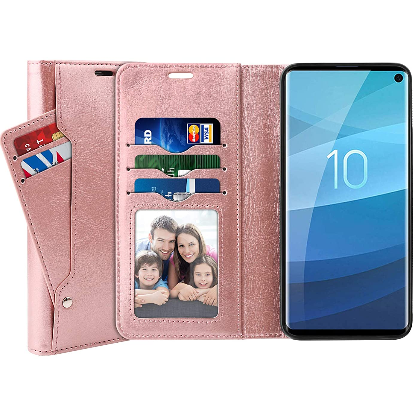 SUPTMAX Leather Wallet Case for Samsung Galaxy S10 [PU Leather + TPU Base] Galaxy S10 Flip Case [5 Slots] Samsung Galaxy S10 Wallet Case Kickstand (Rose Gold)