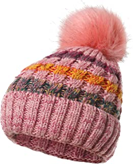 Women's Fleece Lined Beanie Winter Knit Ear Flaps Hat with Pompom Faux Knitted Hat Scarf Mask Set