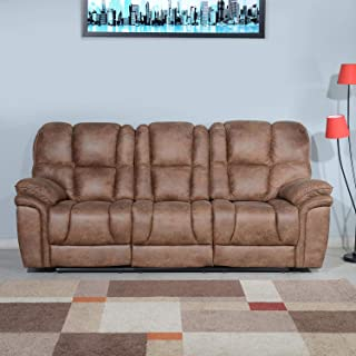 @home by Nilkamal Dubai 3 Seater Manual Recliner with Drop Table (Brown)