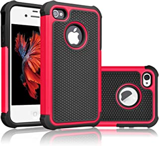 Tekcoo Compatible for iPhone 5S Case/iPhone SE Case/iPhone 5 Case, [Tmajor Series] [Red/Black] Shock Absorbing Hybrid Defender Rugged Cover Skin Shell Hard Plastic Outer & Rubber Silicone Inner