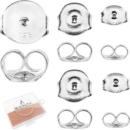 925 Sterlng Silver Premium Ear Nuts 4.5x5.1mm 14 pcs 4.5x5.1mm Earrings Back