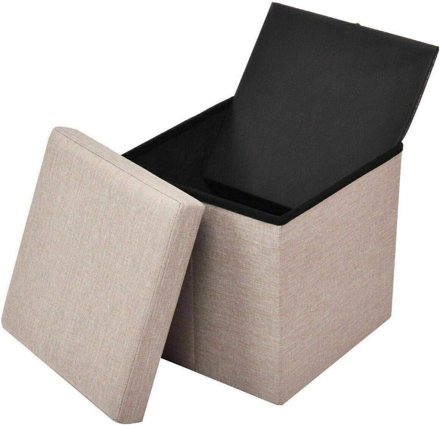 25x25x25CM Stockage Place Pliante Ottoman Tabouret Banquette Box Canapé Repose-Pieds Accueil mobi Décor Kid Chaise Pied Tabouret (Color : Beige) Beige